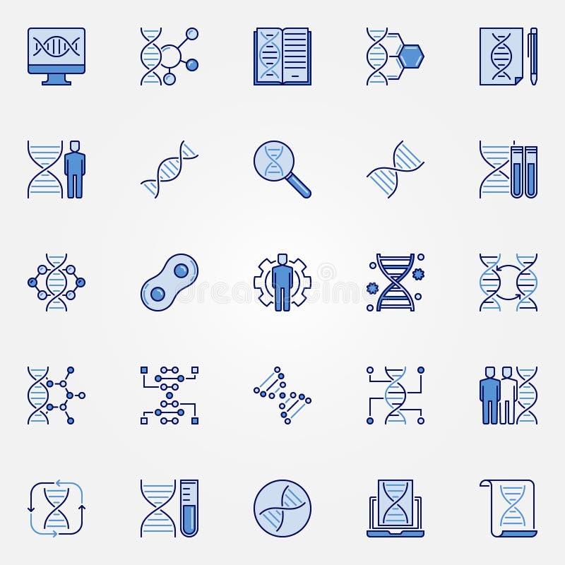 Ensemble bleu d'icônes de la génétique - symboles de concept d'ADN de vecteur illustration libre de droits