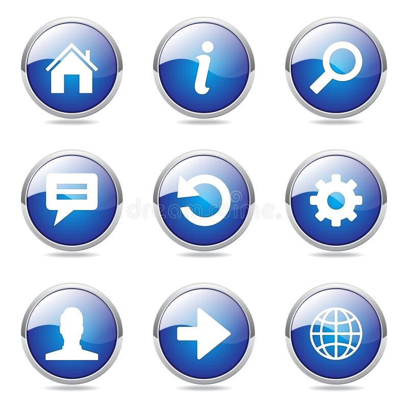 Ensemble bleu d'icône de bouton de vecteur d'Internet de Web illustration libre de droits