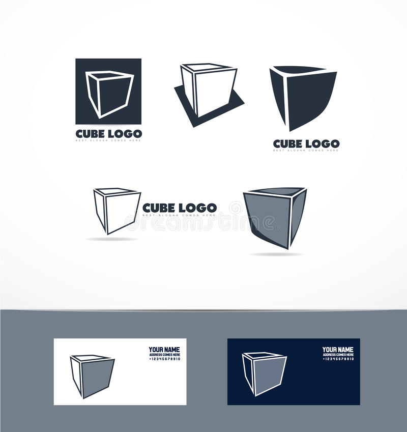 Ensemble bleu d'icône de logo de cube illustration stock