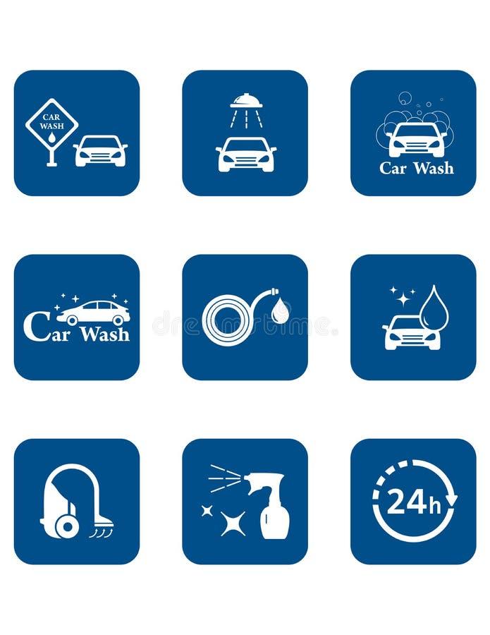 Ensemble bleu d'icône de station de lavage illustration de vecteur