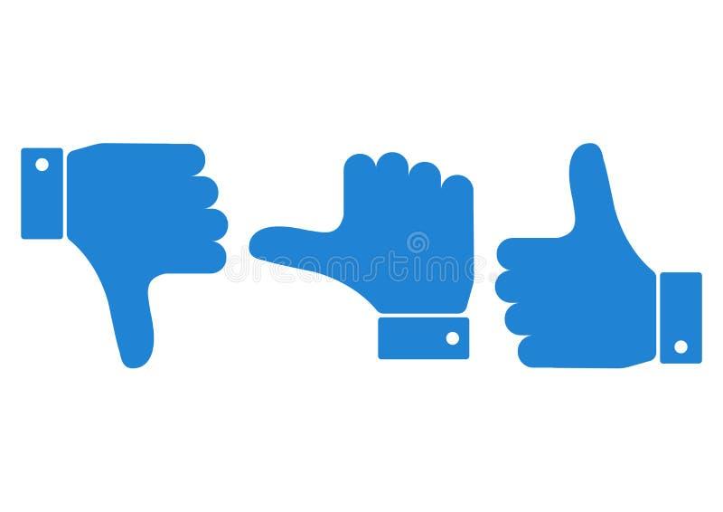 Ensemble bleu de main avec le pouce Vecteur illustration stock