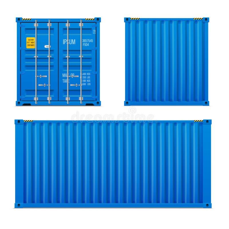 Ensemble bleu lumineux réaliste de conteneur de cargaison Le concept du transport À bac fermé Avant, dos et Sid illustration libre de droits