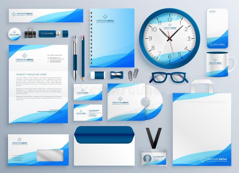 Ensemble bleu moderne de calibre de vecteur de papeterie d'affaires illustration libre de droits