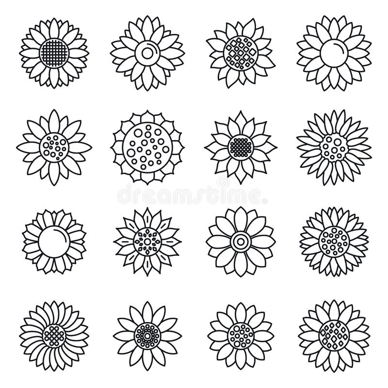 Ensemble botanique d'icônes de tournesol, style d'ensemble illustration libre de droits