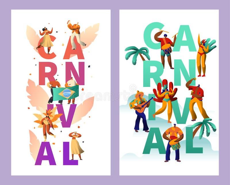 Ensemble brésilien d'affiche de typographie de caractère de carnaval Rumba tropicale d'été de danse de femme de bikini de plume G illustration stock