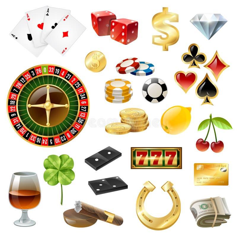 Ensemble brillant d'accessoires de symboles d'équipement de casino illustration stock
