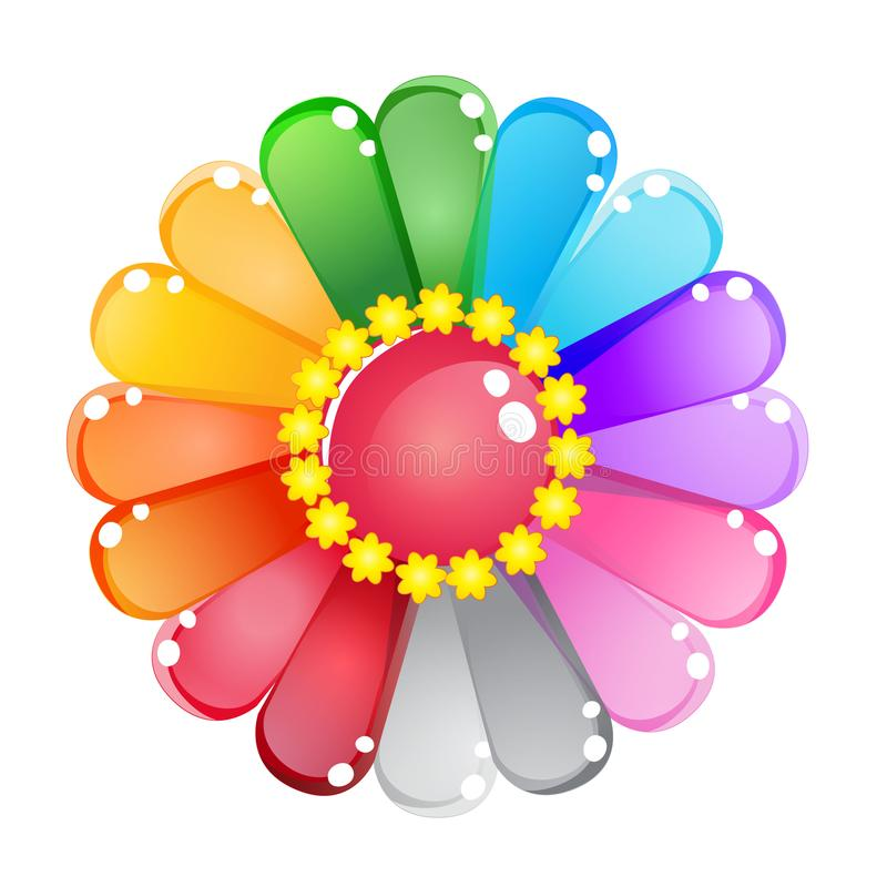 Ensemble brillant d'icône de gelée d'arc-en-ciel de couleur de fleur illustration libre de droits