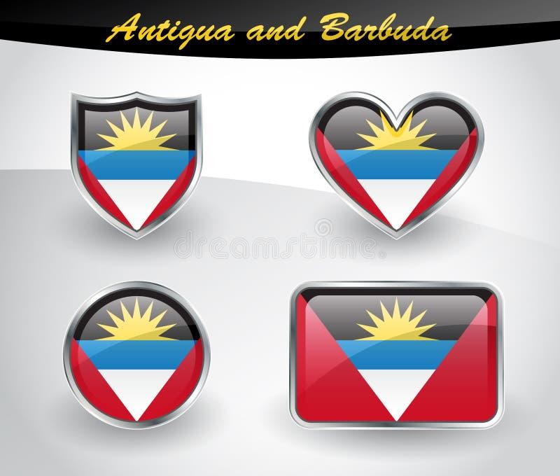 Ensemble brillant d'icône de drapeau de l'Antigua-et-Barbuda illustration stock