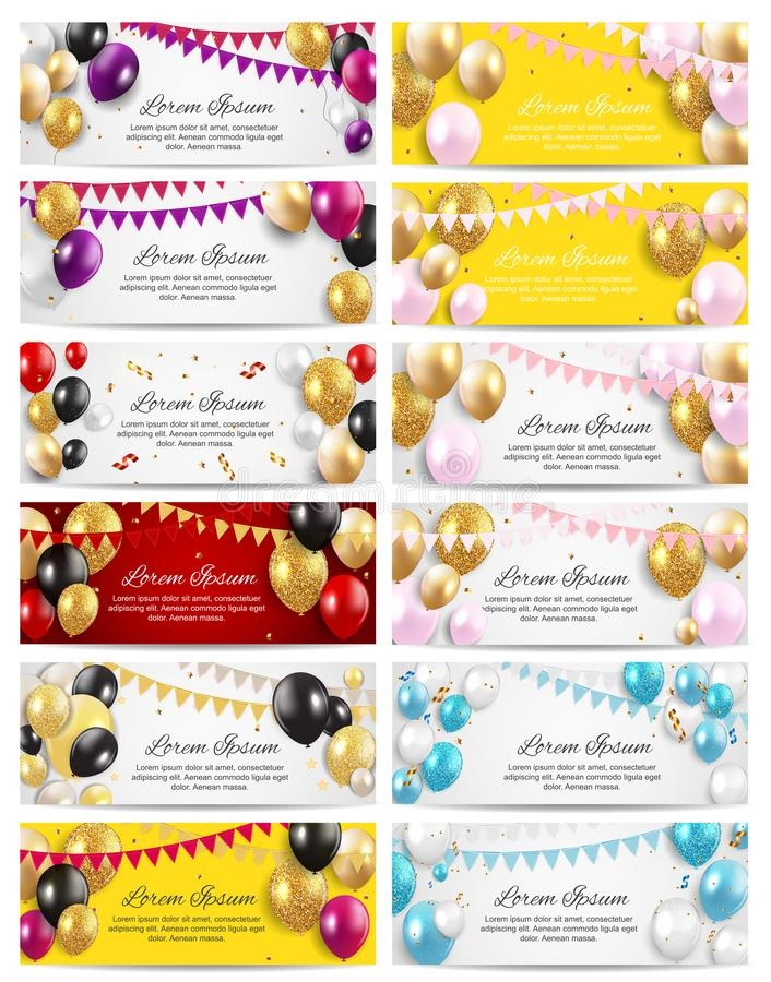 Ensemble brillant de collection de fond de carte de fête d'anniversaire de ballons de couleur Illustration illustration stock