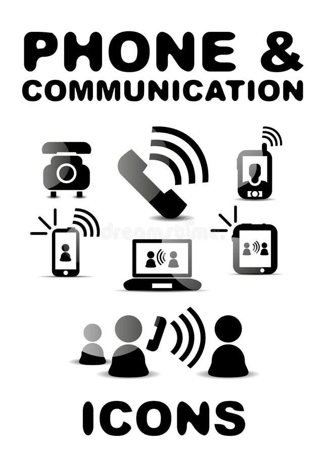 Ensemble brillant noir d'icône de téléphone/communication illustration de vecteur