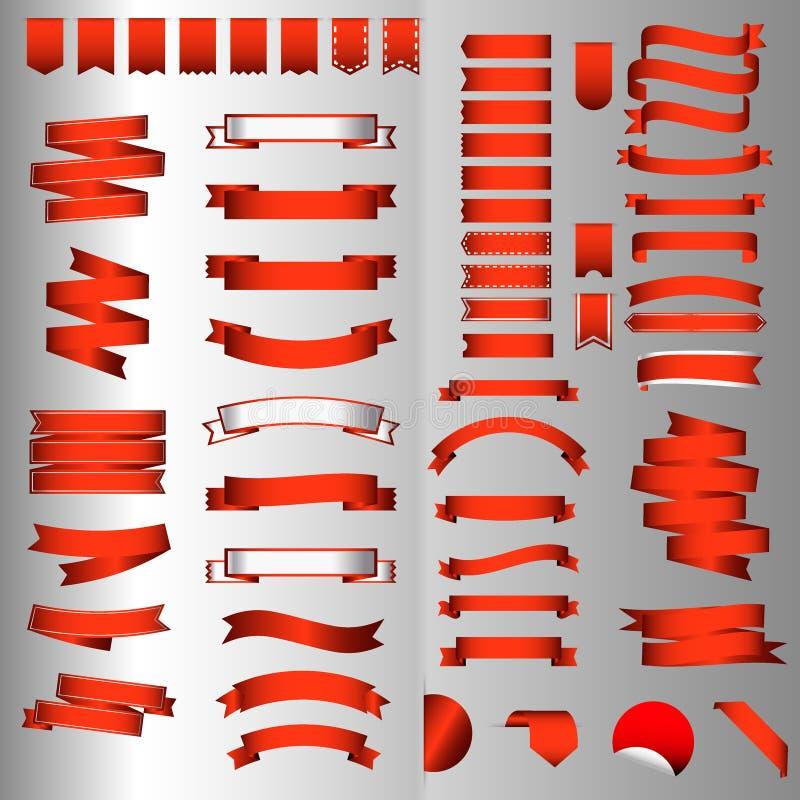 Ensemble brillant rouge de bannières et de labels de vecteur de ruban illustration stock