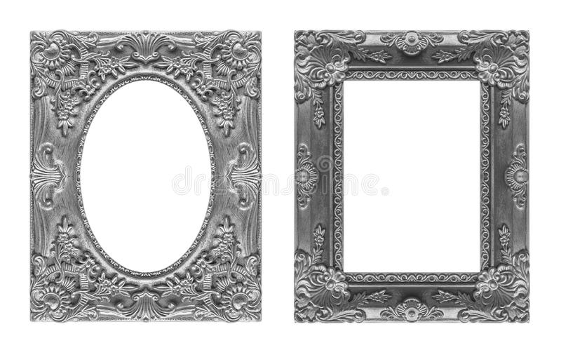 Ensemble 2 - cadre gris de photo antique d'isolement sur le fond blanc, photo stock