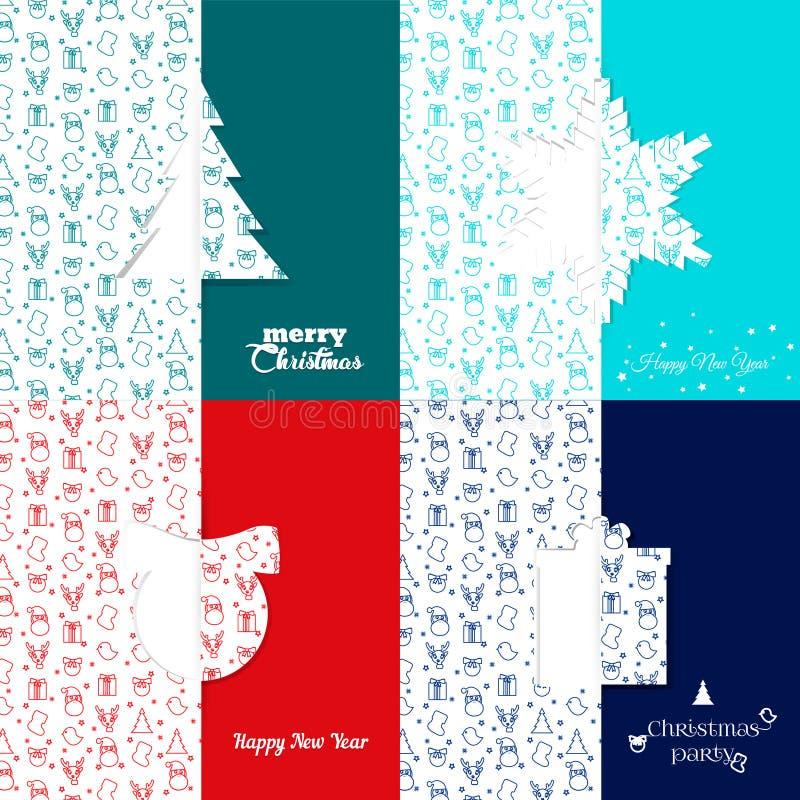 Ensemble calibres de carte de voeux de Noël et de nouvelle année - vecteur courant Fond avec le modèle de symbole de Noël snowfla photographie stock