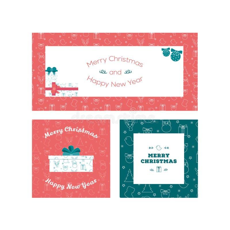 Ensemble calibres de carte de voeux de Noël plat de conception et de nouvelle année photos libres de droits