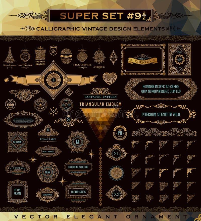 Ensemble calligraphique d'emblèmes Éléments de conception d'or de crête de cru illustration de vecteur