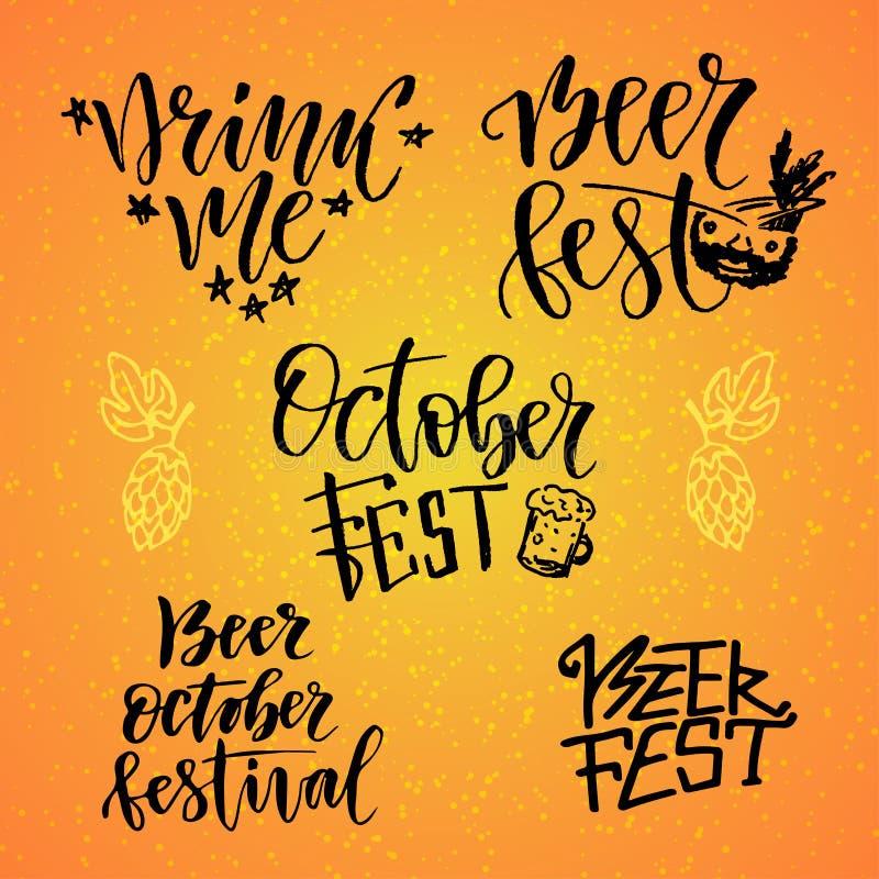 Ensemble calligraphique de Fest d'octobre Le fest de bière me boivent Lettrage manuscrit pour la décoration de vacances illustration de vecteur