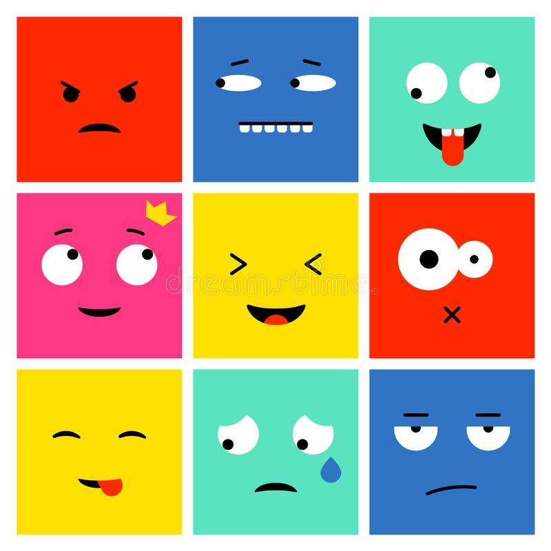 Ensemble carré d'emoji illustration libre de droits