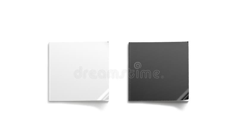 Ensemble carré noir et blanc de maquette de journal de blanc, vue supérieure, illustration stock