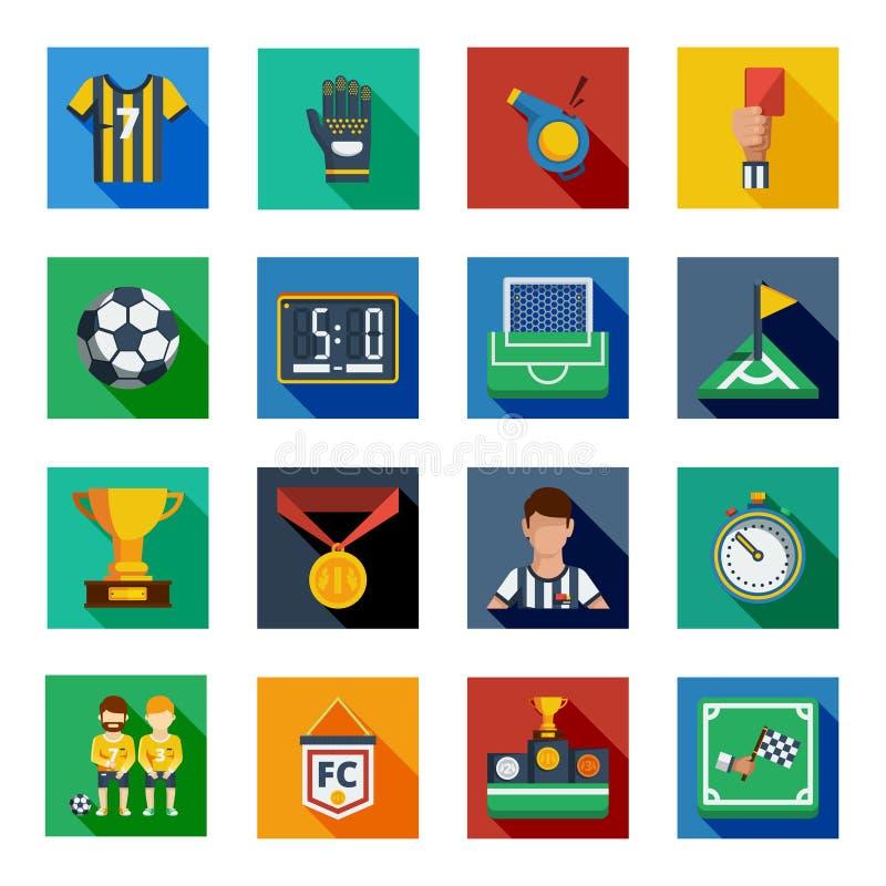 Ensemble carré plat d'icône du football illustration stock