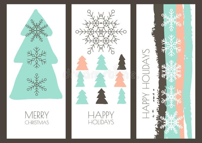 Ensemble cartes de voeux de vecteur de Noël tiré par la main ou de nouvelle année L illustration de vecteur