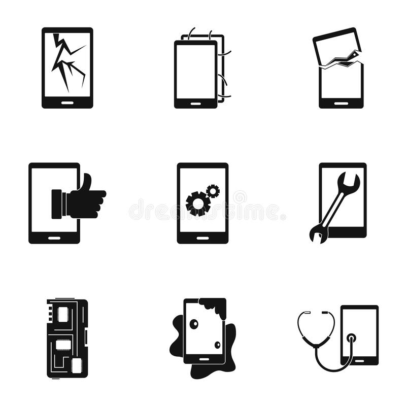 Ensemble cassé d'icône de difficulté de téléphones, style simple illustration libre de droits