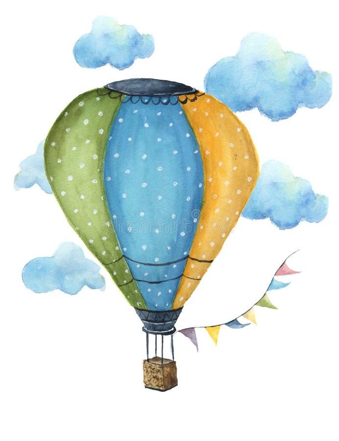 Ensemble chaud de ballon à air d'aquarelle Ballons à air tirés par la main de vintage avec des guirlandes de drapeaux, des nuages illustration de vecteur