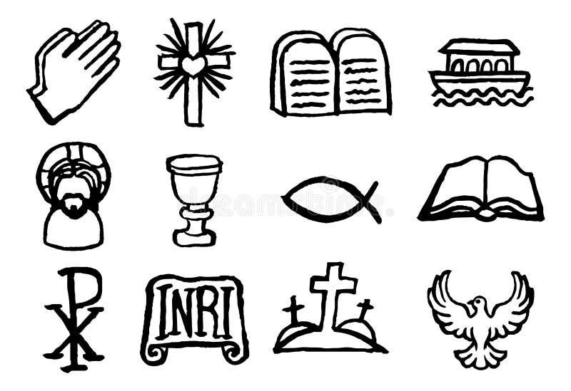 Ensemble chrétien d'icône illustration libre de droits