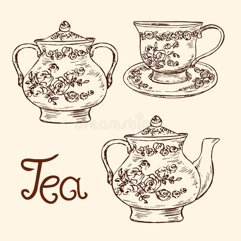 Ensemble classique de porcelaine : le sucrier, la tasse et soucoupe, la théière avec des roses et les feuilles ornementent, griff illustration de vecteur