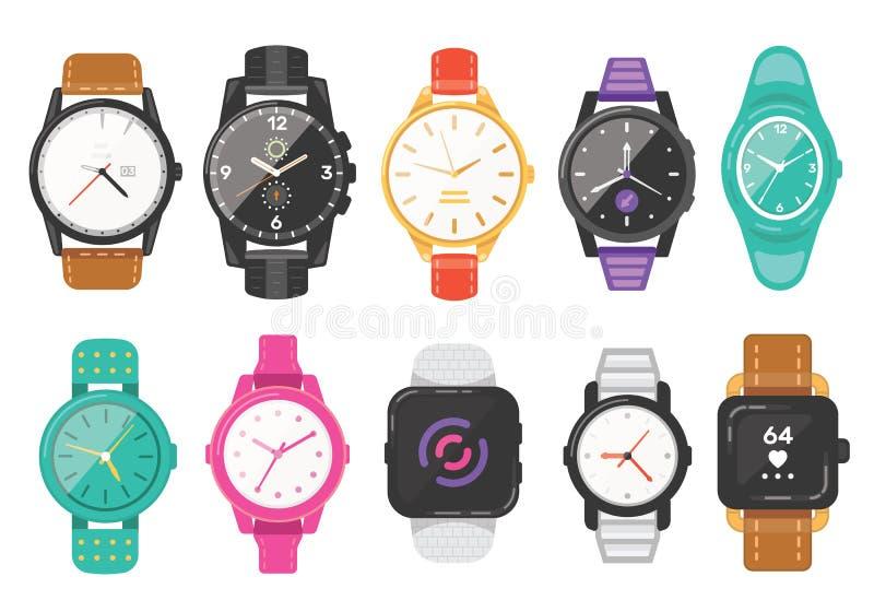 Ensemble classique des montres des hommes et des femmes d'icônes de vecteur Observez pour la collection d'horloges d'homme d'affa illustration libre de droits
