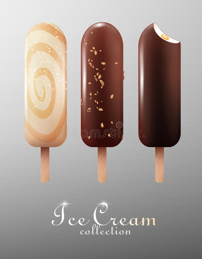 Ensemble classique réaliste d'Esquimau de crème glacée  illustration stock