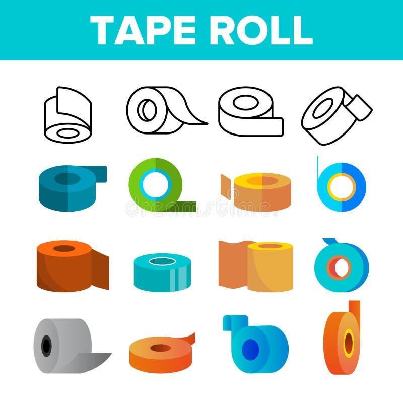 Ensemble collant d'icônes de couleur de vecteur de Rolls de bande illustration de vecteur