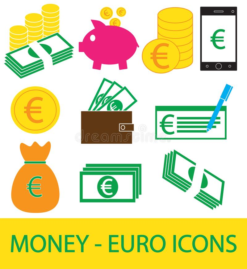 Ensemble, collection ou paquet d'euro icône ou logo de devise illustration de vecteur