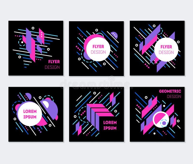 Ensemble coloré abstrait géométrique de conception d'affiche d'insectes Vecteur illustration stock