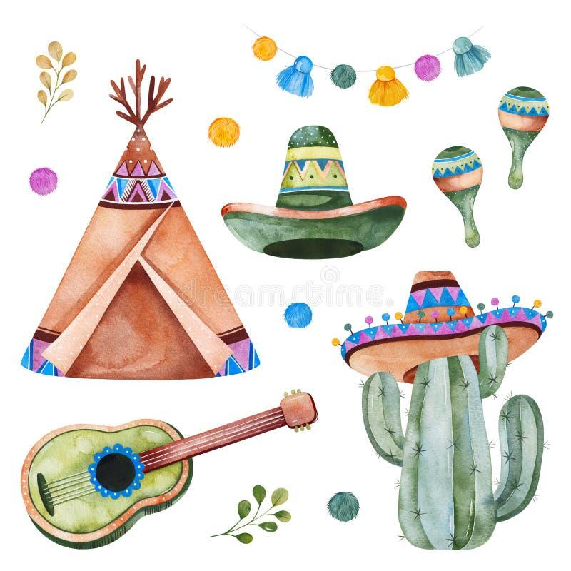 Ensemble coloré avec les éléments ethniques mexicains : cactus, guirlande, sombrero, maracas, tipi, guitare illustration de vecteur