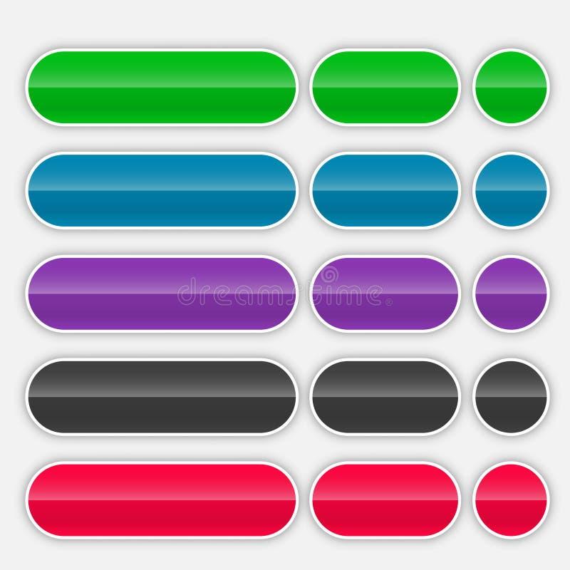 Ensemble coloré brillant de boutons de Web illustration libre de droits