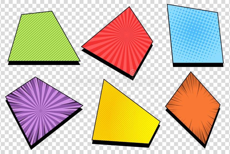 Ensemble coloré comique de cadres illustration stock