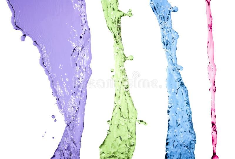 Ensemble coloré d'éclaboussure de l'eau d'isolement sur le fond blanc images stock