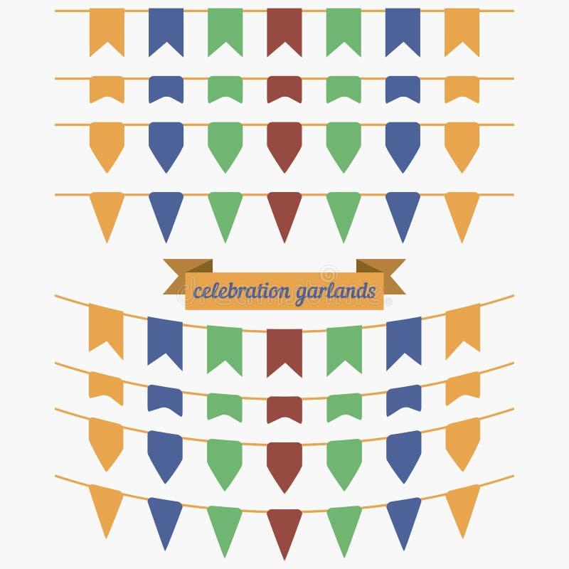 Ensemble coloré d'étamine et de guirlande Éléments de conception pour la décoration illustration libre de droits