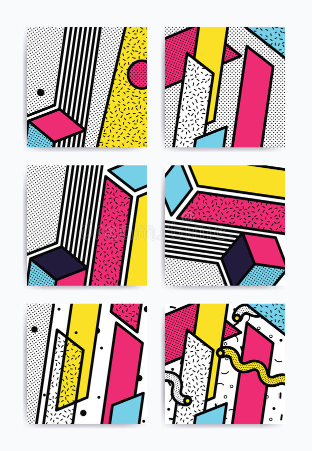 Ensemble coloré d'art de bruit illustration stock