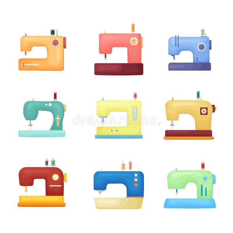 Ensemble coloré d'icône de machine à coudre de qualité d'isolement sur le fond blanc illustration de vecteur
