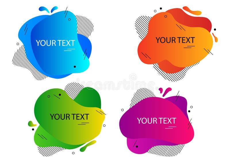 Ensemble coloré de bannière abstraite moderne, formes de bulle de la parole différentes pour votre texte Vecteur illustration libre de droits