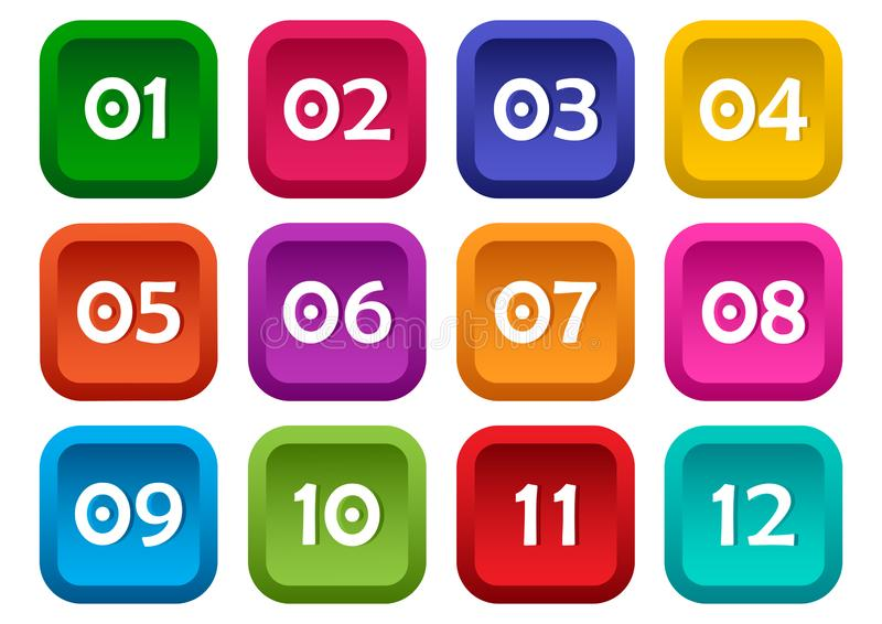 Ensemble coloré de boutons carrés avec des nombres de 01 à 12 Vecteur illustration libre de droits