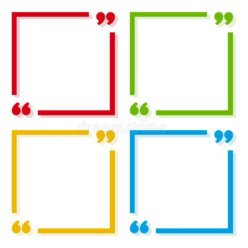 Ensemble coloré de cadres pour votre texte avec l'ombre Signe de citation des textes Icônes colorées dans des coins de foyer avec illustration de vecteur