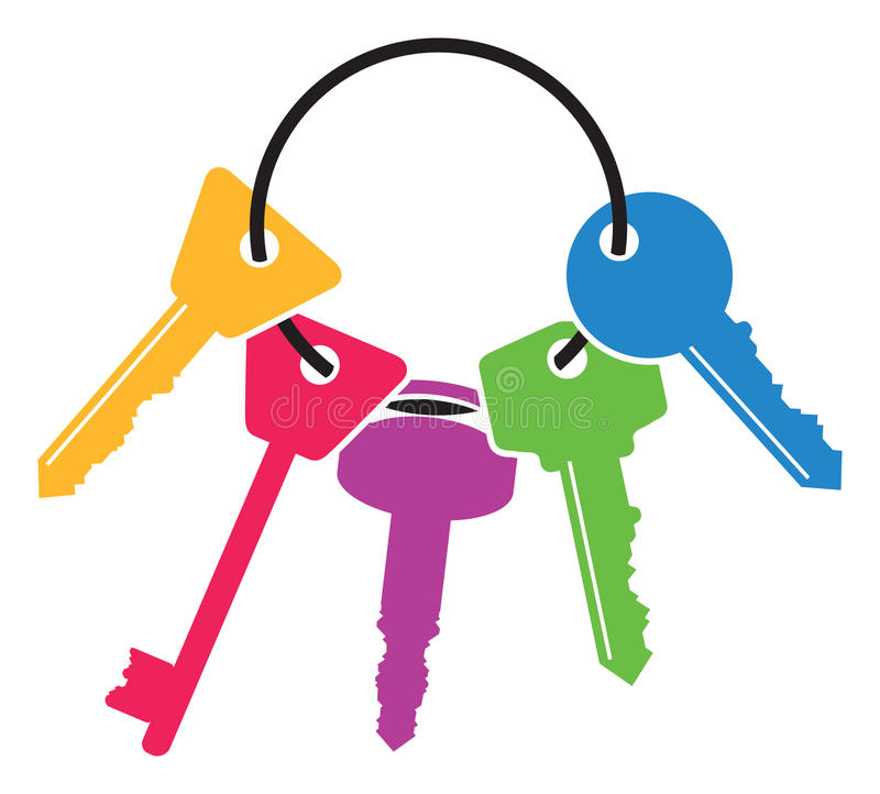 Ensemble coloré de clés illustration stock