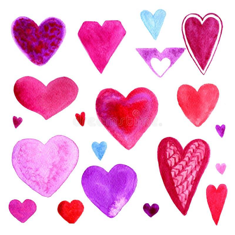 Ensemble coloré de coeurs de jour de valentines d'aquarelle Éléments mignons pour la carte de voeux D'isolement sur le fond blanc illustration stock