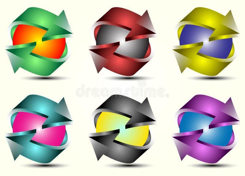 Download Ensemble Coloré De Flèche De Logotype Du Vecteur 3d Illustration de Vecteur - Illustration du forme, vecteur: 87708472