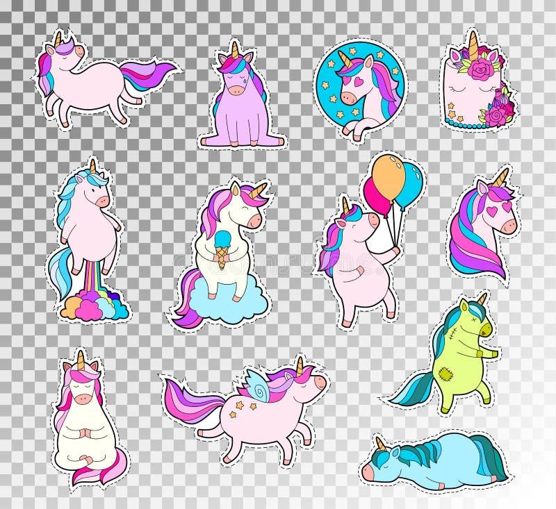 Ensemble coloré de griffonnage de licorne mignonne Illustration de croquis de vecteur d'autocollant d'émotions de licorne illustration stock