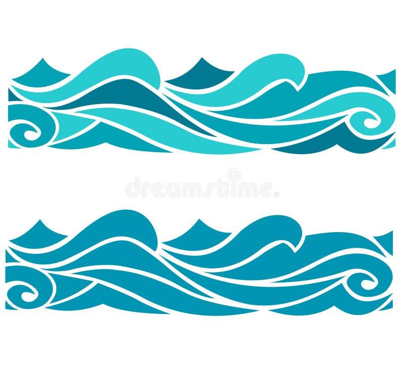 Ensemble coloré de l'eau de papier peint de vagues de mer d'océan de vecteur illustration d'abrégé sur de fond bleu de modèle illustration stock
