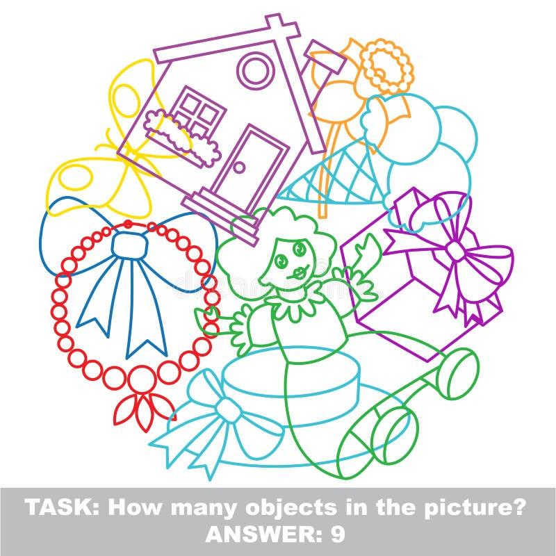 Ensemble coloré de méli-mélo de jouet de fille dans le vecteur illustration de vecteur