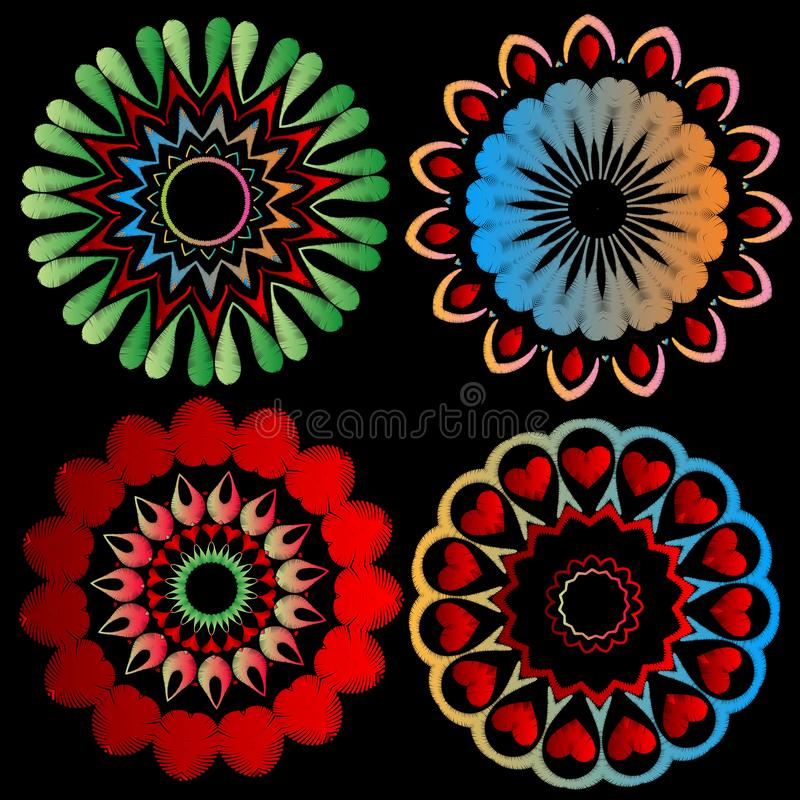 Ensemble coloré de modèles de mandala de broderie Dirigez le fond ornemental Mandalas grunges de style ethnique abstrait rond ave illustration stock